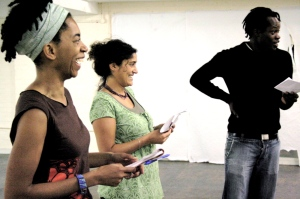 Nadine, Farah, and Alan in Shakespeare Workshop. Photo by Vera J.