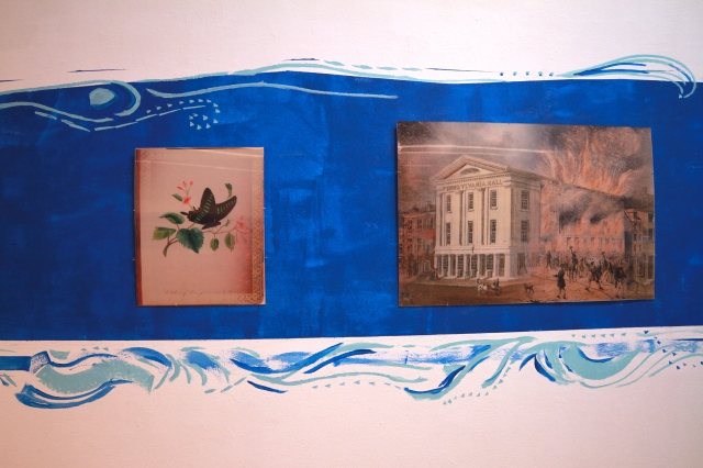"Two of the three lenticular prints on display. ""Black Butterfly"" and ""The Burning of Pennsylvania Hall 1838"", images courtesy of the Library Company of Philadelphia. Concept by Nadine Patterson. Fabricated by Silicon Gallery's Rick De Coyte."