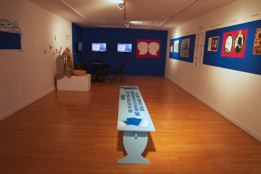 Second floor of gallery with multimedia and participatory art work. Includes films from Scribe Video Center and short stories by juniors at William Penn Charter.