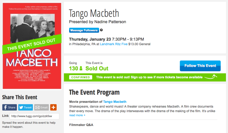 Sold Out! Please Follow on Tugg to see if more seats become available