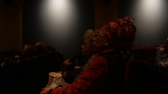Mother & Daughter, Marlene and Nadine Patterson watch their film at the Hiway Theater, Nov. 21, 2019